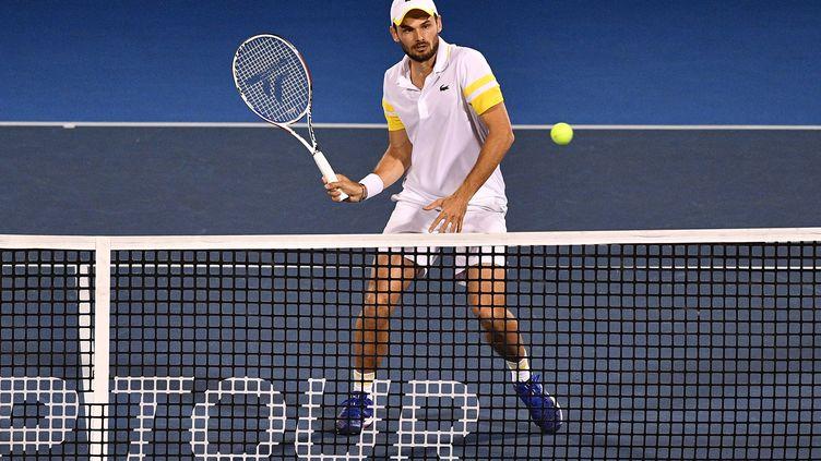 Le tennisman français Hugo Nys lors d'un double autournoi de Delray Beach (Etats-Unis), le 12 janvier 2021. (MARK BROWN / AFP)
