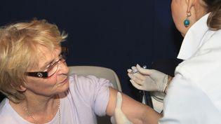 Une infirmière injecte un vaccin contre la grippe à une patiente à Suresnes (Hauts-de-Seine),le 5 novembre 2009. (MEHDI FEDOUACH / AFP)