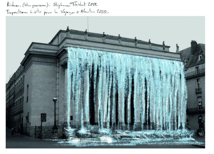 """""""Rideau"""", Stéphane Thidet, Place Graslin, Le voyage à Nantes. Esquisse. (STÉPHANE THIDET)"""