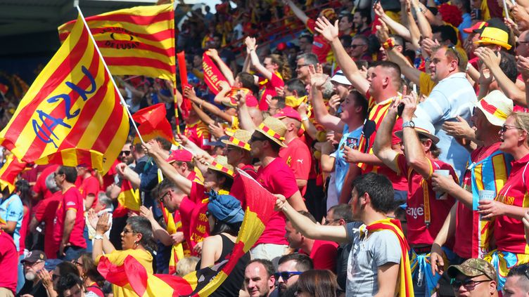 La joie des supporters de Perpignan après la victoire de leur équipe, dimanche 6 mai, en finale d'accession de Pro D2 contre Grenoble, à Toulouse (Haute-Garonne). (RAYMOND ROIG / AFP)