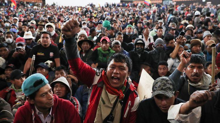 Manifestation contre le gouvernement à Quito (Equateur), le 10 octobre 2019. (IVAN ALVARADO / REUTERS)