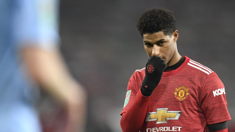 L'attaquant de Manchester United, Marcus Rashford, lors de la demi-finale de la Coupe d'Angleterre contre Manchester City, le 6 janvier 2021. (PETER POWELL / POOL)