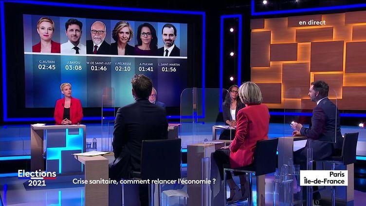Les principaux candidats aux élections régionales en Ile-de-France, le 9 juin 2021, à Paris. (FRANCE 3 PARIS ILE-DE-FRANCE)