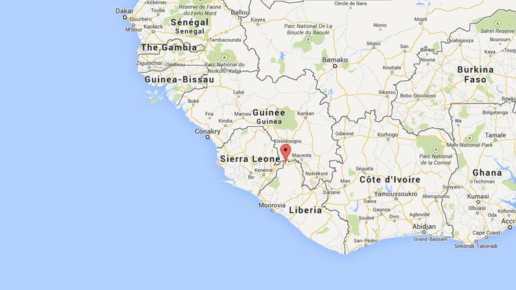 Capture d'écran de Google Maps pointant Foya, foyer actif de la fièvre Ebola au Liberia. ( GOOGLE MAPS / FRANCETV INFO )