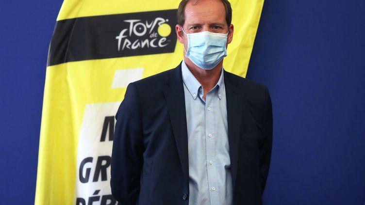 Christian Prudhomme, le directeur du Tour de France, le 19 août 2020 lors d'une conférence de presse à Nice. (VALERY HACHE / AFP)
