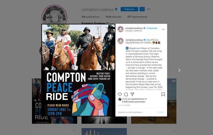 Capture d'écran du compte Instagramdes Compton Cowboys, le 5 juin 2020. (COMPTON COWBOYS / INSTAGRAM)