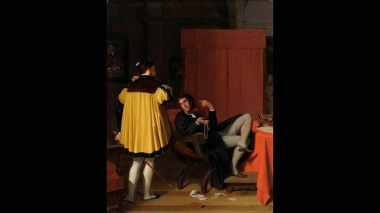 Jean Auguste Dominique Ingres, L'Arétin et l'envoyé de Charles Quint, 1848, Huile sur toile 41,5 X 32,5 cm.  (MBA Lyon / Alain Basset)