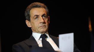 Nicolas Sarkozy, le président Les Républicains, lors d'un meeting de campagne à Rochefort (Charente-Maritime), le 8 décembre 2015. (XAVIER LEOTY / AFP)