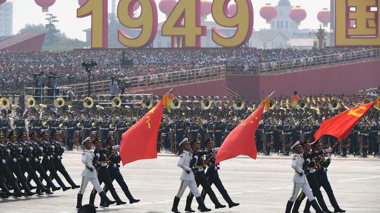 Défilé militaire pour les 70 ans de la fondation de la Chine populaire à Pekin, le 1er septembre 2019. (GREG BAKER / AFP)