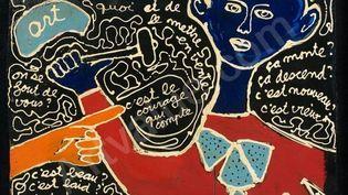 """Peinture de Ben, 1988. Titre : """"C'est le courage qui compte pour peindre n'importe quoi et de le mettre en vente"""" (ADAGP, PARIS, 2014)"""