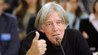 Le philosophe André Glucksmann lors d'une conférence à Prague (République tchèque), le 14 octobre 2008. (MICHAL CIZEK / AFP)