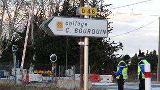 Les élèves présents dans le bus accidenté à Millas (Pyrénées-Orientales) étaient scolarisés au collège Christian Bourquin. (PASCAL PAVANI / AFP)
