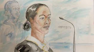 Fabienne Kabou, lors de l'ouverture de son procès devant la cour d'assises du Pas-de-Calais, àSaint-Omer, le 20 juin 2016. (ELISABETH DE POURQUERY / FRANCETV INFO)