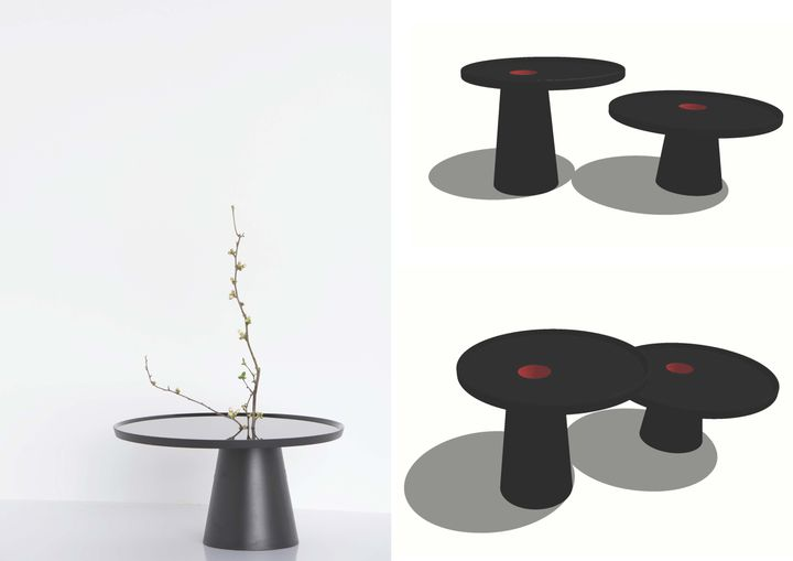 Deux tables de la marque K3, du créateur Kenzo. (K3)