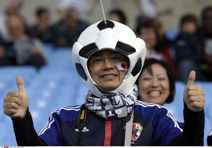 Un supporter japonais avant le match olympique entre le Japon et le Honduras, à Conventry (Grande-Bretagne), le 1er août 2012. (HUSSEIN MALLA/AP/SIPA / AP)