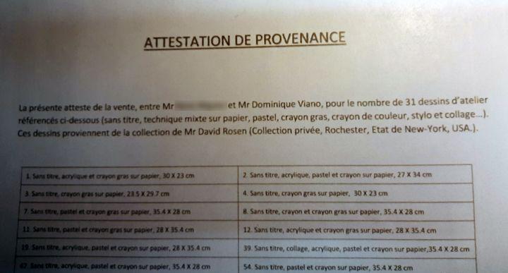 """""""Attestation de provenance"""" montrant la vente de dessins attribués à Basquiat entre un collectionneur de Saint-Etienne et Dominique Viano. (Isabel Pasquier / Radio France)"""
