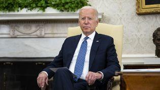Le président américain Joe Biden dans le bureau ovale de la Maison Blanche, le 1er septembre 2021 à Washington (Etats-Unis). (GETTY IMAGES NORTH AMERICA / AFP)