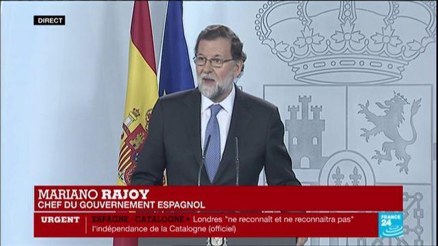 Rajoy pour la dissolution de l'exécutif et le Parlement catalan