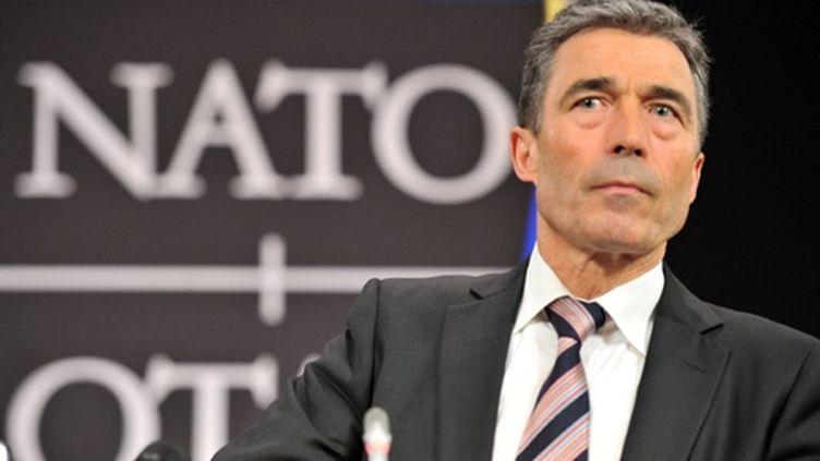 Anders Fogh Rasmussen, lors d'une conférence de presse, à Bruxelles, le 4 mai 2011 (AFP/GEORGES GOBET)