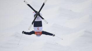 Perrine Laffont lors des qualifications pour la finale olympique de ski de bosses à Pyeongchang (Corée du Sud), le 9 février 2018. (JULIEN CROSNIER / DPPI MEDIA)