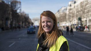 """Ingrid Levavasseur sur les Champs-Elysées lors d'une mobilisation des """"gilets jaunes"""", le 17 février 2019. (ANTONI LALLICAN / HANS LUCAS / AFP)"""
