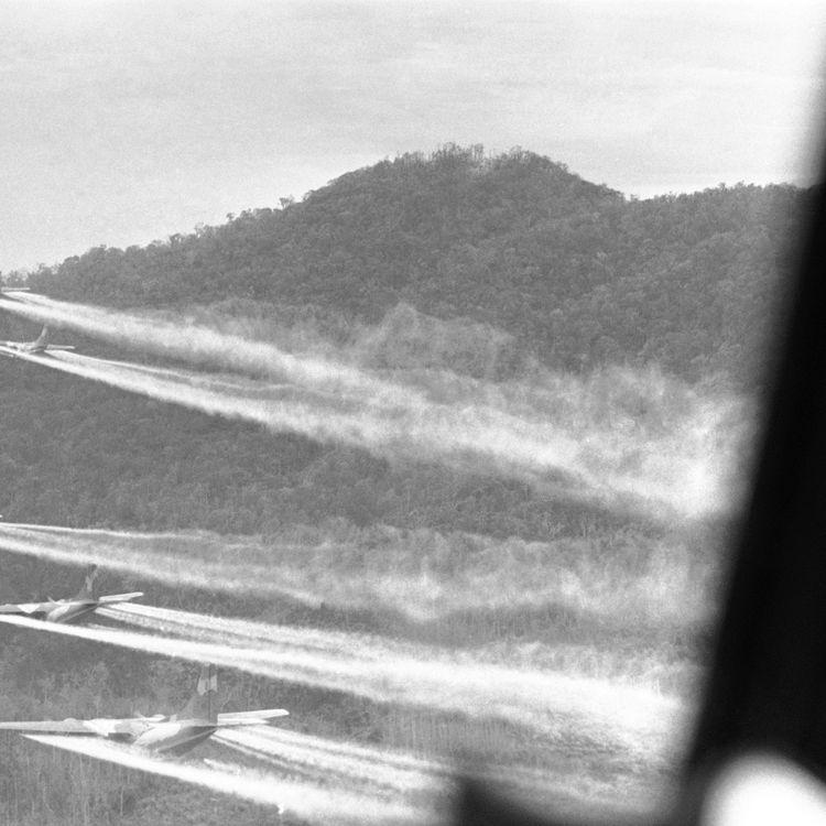 """Des avions de l'armée américaine larguent un puissant défoliant, l'""""agent orange"""" sur le sud du Vietnam, le 14 août 1968. (ROBERT OHMAN / AP)"""