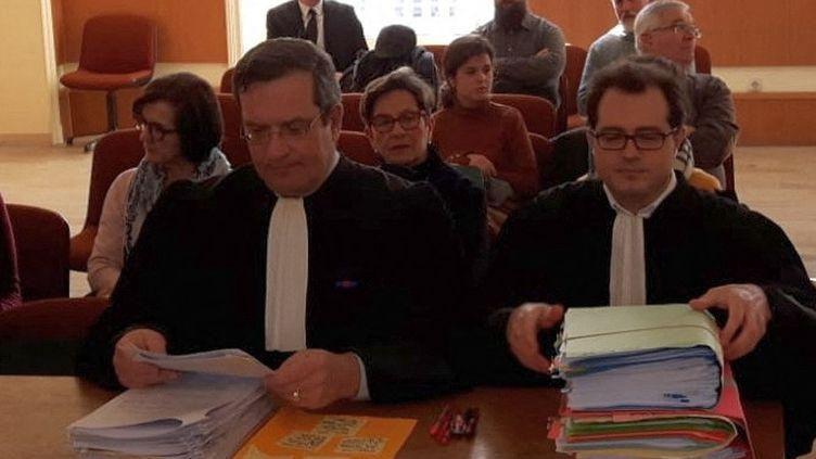 Jean Paillot (à gauche) et Jérôme Triomphe (à droite), avocats des parents de Vincent Lambert, le 21 janvier 2019. (PHILIPPE REY-GOREZ / FRANCE-BLEU CHAMPAGNE)