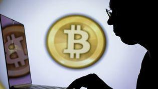 Un homme utilise un ordinateur devant un logo Bitcoin, le 16 décembre 2020, à Istanbul (Turquie). (GUVEN YILMAZ / ANADOLU AGENCY / AFP)