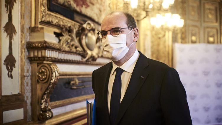 Le Premier ministre Jean Castex au Sénat, le 10 mars 2021. (ANTONIN BURAT / HANS LUCAS / AFP)