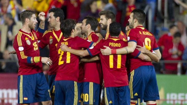 La joie de l'équipe d'Espagne (JAIME REINA / AFP)