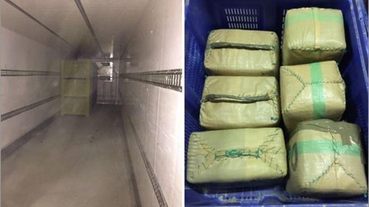 Près de 1,3 tonne de résine de cannabis a été découverte dans le chargement d'un camion en provenance d'Espagne. (DOUANE FRANCAISE)