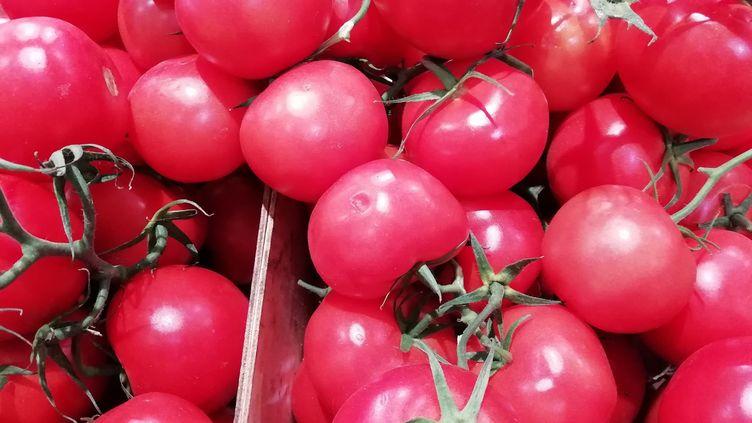 Des grappes de tomates sur un marché à Bayonne. (XEXILI FOIX / FRANCE-BLEU PAYS BASQUE)