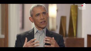 L'ancien président des Etats-Unis, Barack Obama, lors d'une interview pour France 2, le 17 novembre 2020. (FRANCE 2)