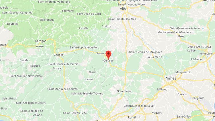 L'évasion s'est produite dans le secteur de Quissac, sur la nationale 110 qui relie Montpellier à Alès. (GOOGLE MAPS)