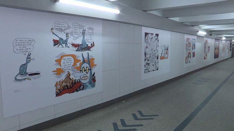 Comme une qurantaine d'autres gares, celle de Toulouse-Matabiau accueille les planches de l'auteure Anne Simon, sélectionnée au 48e Festival International de la bande dessinée d'Angoulême. (France 3 / Thierry VILLEGER)
