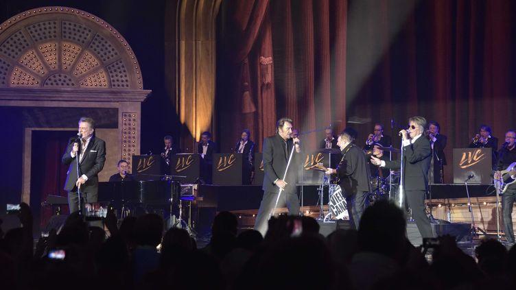 Les Vieilles Canailles ( Johnny Hallyday, Jacques Dutronc et Eddy Mitchell) en concert au Palais Omnisports de Paris-Bercy, le 6 novembre 2014. (OFG-REG)