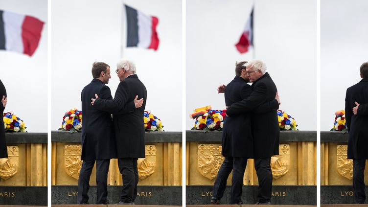 Emmanuel Macron et son homologueFrank-Walter Steinmeier le 10 novembre 2017 auHartmannswillerkopf, dans le Haut-Rhin. (BERND VON JUTRCZENKA / DPA)