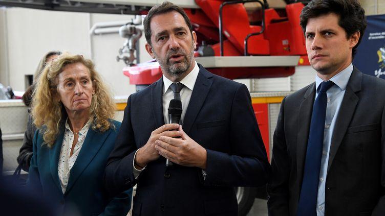 Christophe Castaner, ministre de l'Intérieur, Nicole Belloubet, ministre de la Justice, et Julien Denormandie, ministre de la Ville et du logement, à Chanteloup-les-Vignes (Yvelines), le 5 novembre 2019. (BERTRAND GUAY / AFP)