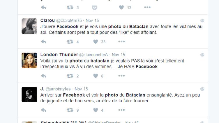 Capture d'écran de messages postés sur Twitter, le 15 novembre 2015, par des internautes choqués d'avoir vu sur Facebook une photo du Bataclan après l'attaque terrroriste du 13 novembre. (TWITTER)