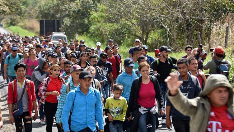 Des migrants honduriens au Guatemala, en route vers les Etats-Unis, le 16 janvier 2020 (JOHAN ORDONEZ / AFP)