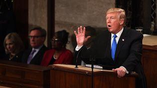 Donald Trump a prononcé son premier discours sur l'état de l'Union devant les parlementaires américains le 30 janvier 2018. (MAXPPP)