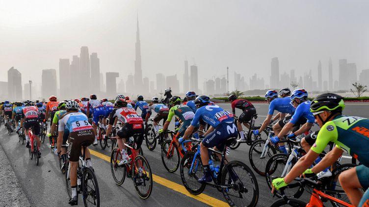Les coureurs engagés sur l'UAE Tour en février 2020, avant l'annulation des dernières étapes (GIUSEPPE CACACE / AFP)