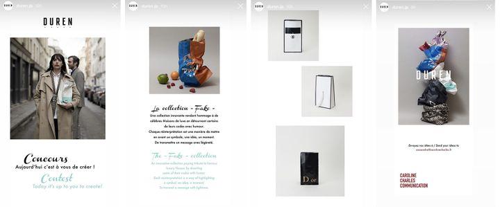 Dans une story Instagram, la marque japonaise Duren invite sa communauté à créer son prochain sac (DUREN)
