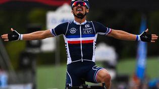 Le Français Julian Alaphilippe célèbre son titre de champion du monde à Imola (Italie), le 27 septembre 2020. (MARCO BERTORELLO / AFP)