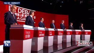 Deuxième débat télévisé de la primaire de gauche, le 15 janvier 2017, suri-Télé, BFMTV et RMC (ALEXANDRE MARCHI / MAXPPP)