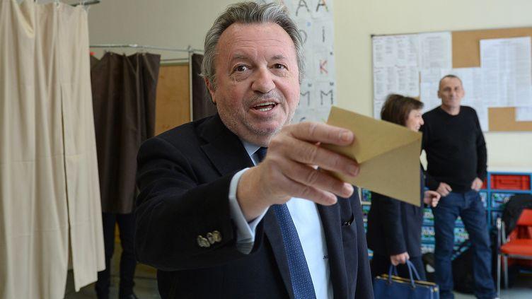 Le président socialiste du département des Bouches-du-Rhône,Jean-Noël Guérini,le 29 mars 2015 à Marseille,lors du second tour des élections départementales. (BORIS HORVAT / AFP)