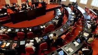 Election du nouveau président du conseil départemental de Vendée, Yves Auvinet (DVD), le 2 avril 2015. (  MAXPPP)