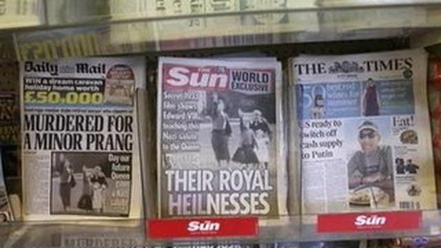 Le salut nazi de la reine d'Angleterre à six ans en Une du Sun
