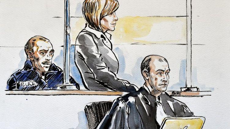 Audrey Chabot lors de son procès pour infanticides le 27 février 2015 devant la cour d'assises de l'Ain, à Bourg-en-Bresse. (CHRISTOPHE BUSTI / AFP)