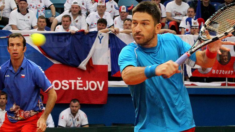 Radek Stepanek et Jan Hajek, la paire du double tchèque  (STANISLAV FILIPPOV / AFP)